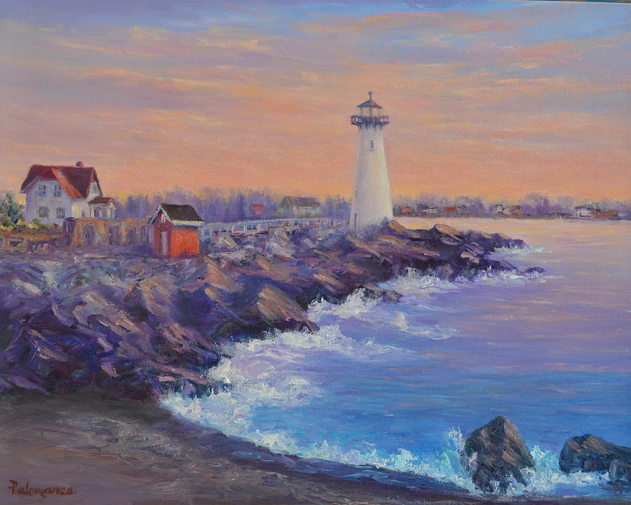 Portsmouth Lighthouse Sunset Peaceful  Coastal Painting by Amber Palomares