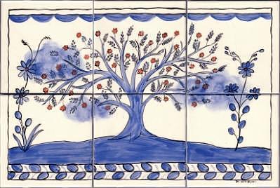 Ceramic Ceramic Art - Portuguese Folk Art-style Tree Of Life by Dy Witt