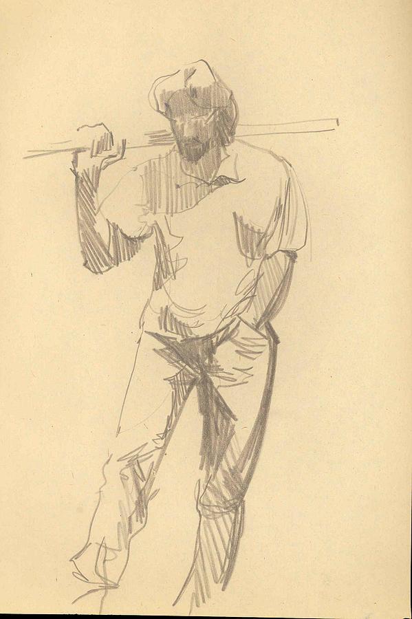 Man Drawing - Pose 1 by Mehrdad Sedghi