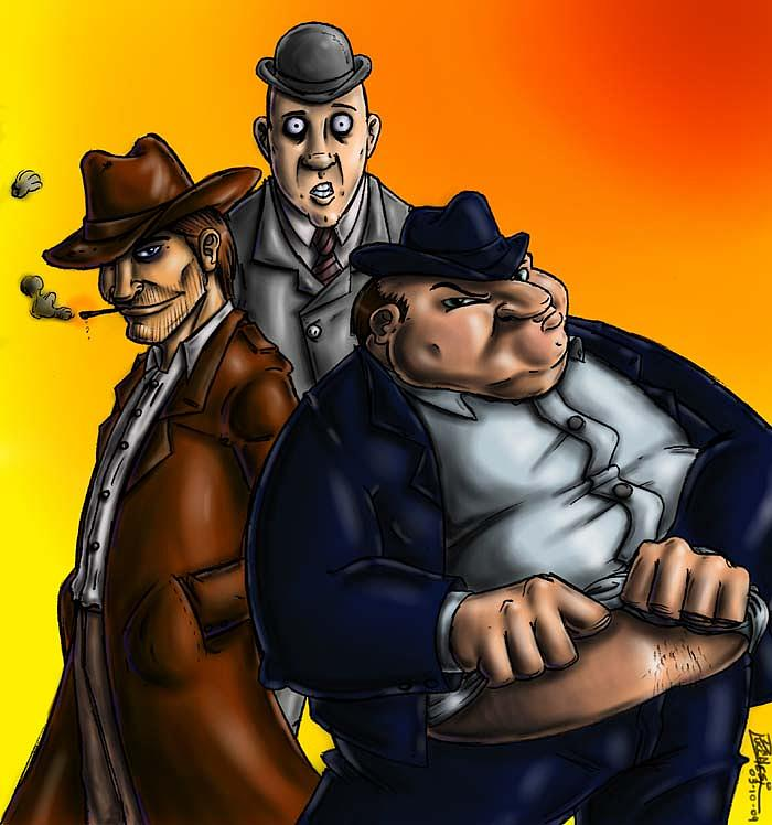 Detectives Painting - Pose As A Team by Grymm Grymmowski