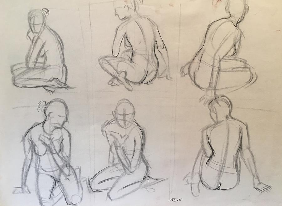 Pose In Diferent Views Drawing by Alejandro Lopez-Tasso