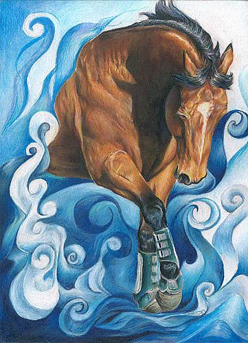 Horse Painting - Poseidens Gift by Jenifer Trottier