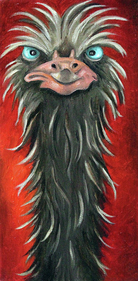 Ostrich Painting - Poser 3 by Leah Saulnier The Painting Maniac