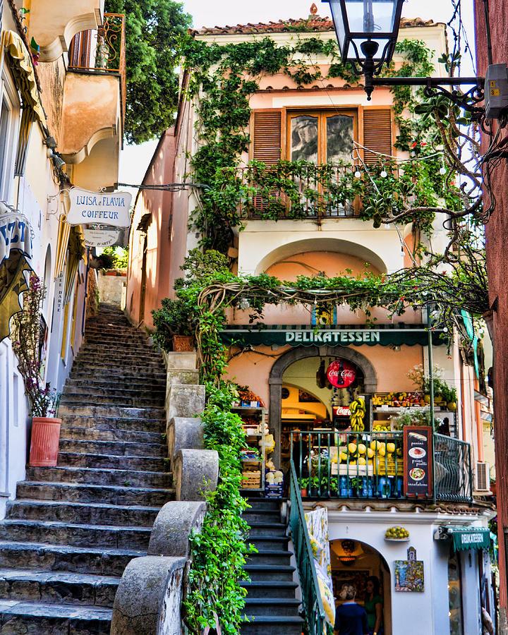 Positano Italy Photograph - Positano Shopping by Jon Berghoff