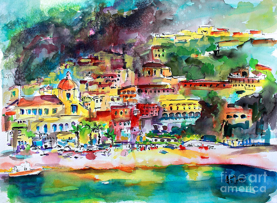 Amalfi Coast Positano Summer Fun Watercolor Painting Painting by Ginette Callaway
