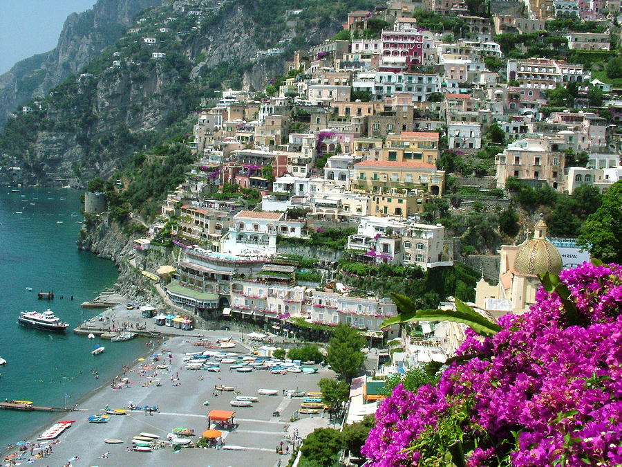 Positano Photograph - Positanos Beach by Donna Corless