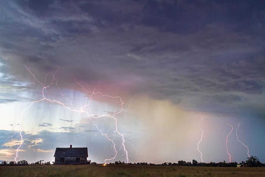 Positive Pink Lightning On The Prairie Photograph
