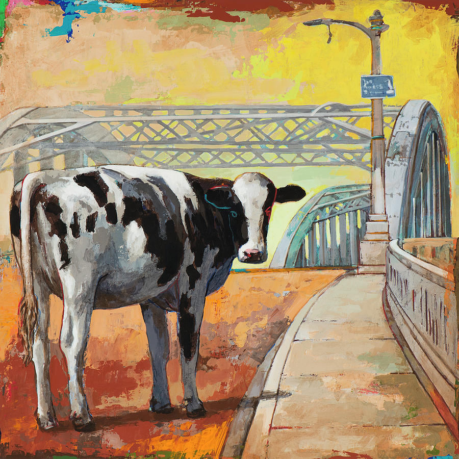 Cow Painting - Positively 6th Street by David Palmer
