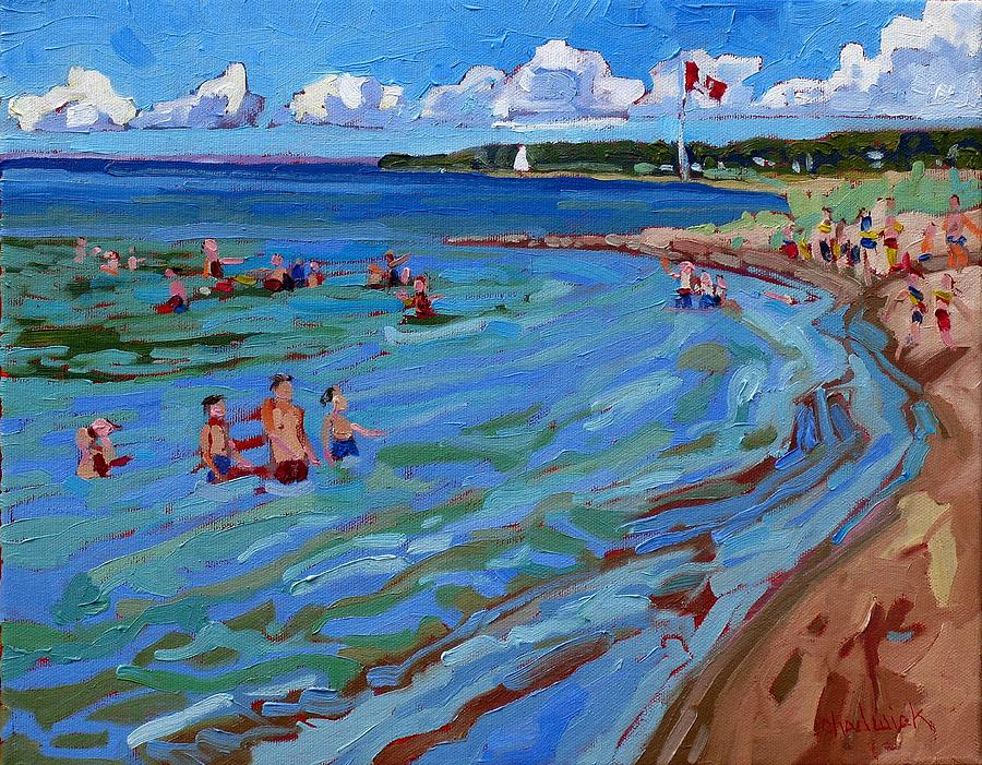 Swim Painting - Positively Buoyant Beach People by Phil Chadwick