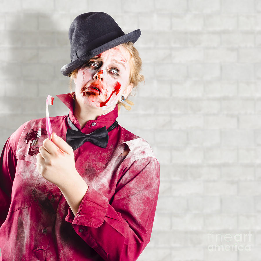 Cavity Photograph - Possessed Girl With Bloody Toothbrush. Gum Disease by Jorgo Photography - Wall Art Gallery