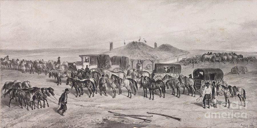 Denis Auguste Marie Raffet Painting - Post Horses by Celestial Images