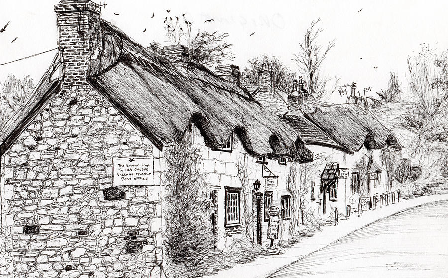 Isle Of Wight Drawing - Post Office And Museum by Vincent Alexander Booth