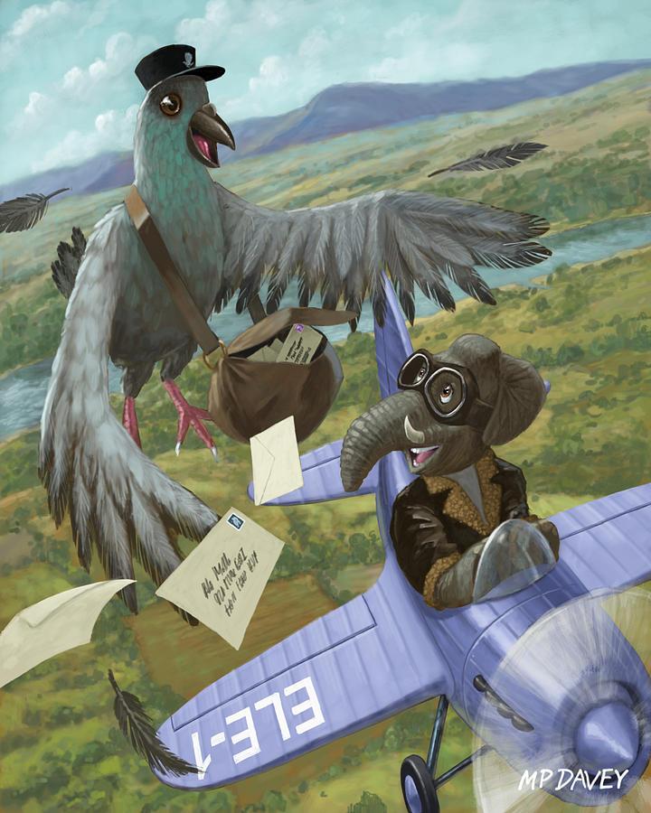 Pigeon Painting - Postal Bird by Martin Davey