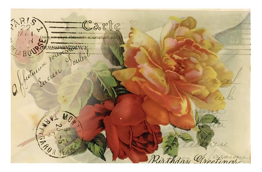 Vintage Flower Digital Art - Postal by Kim Kent