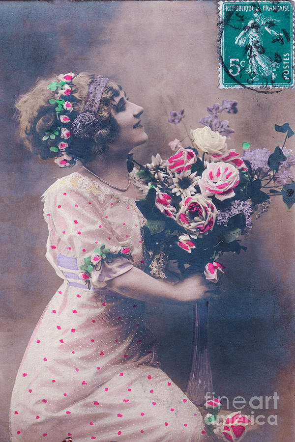 Valentine Photograph - Postcard Girl With A Bouquet by Delphimages Photo Creations