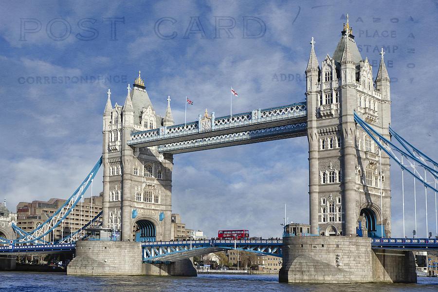 Tower Bridge Digital Art - Postcard Home by Joan Carroll