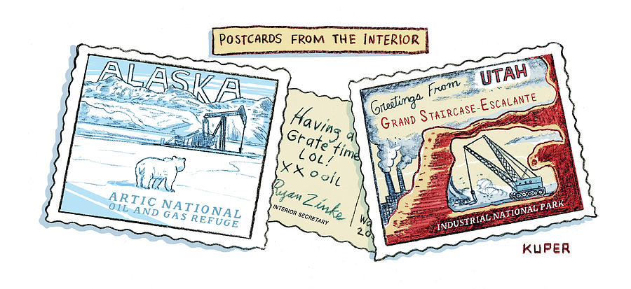 Postcards from the Interior Drawing by Peter Kuper