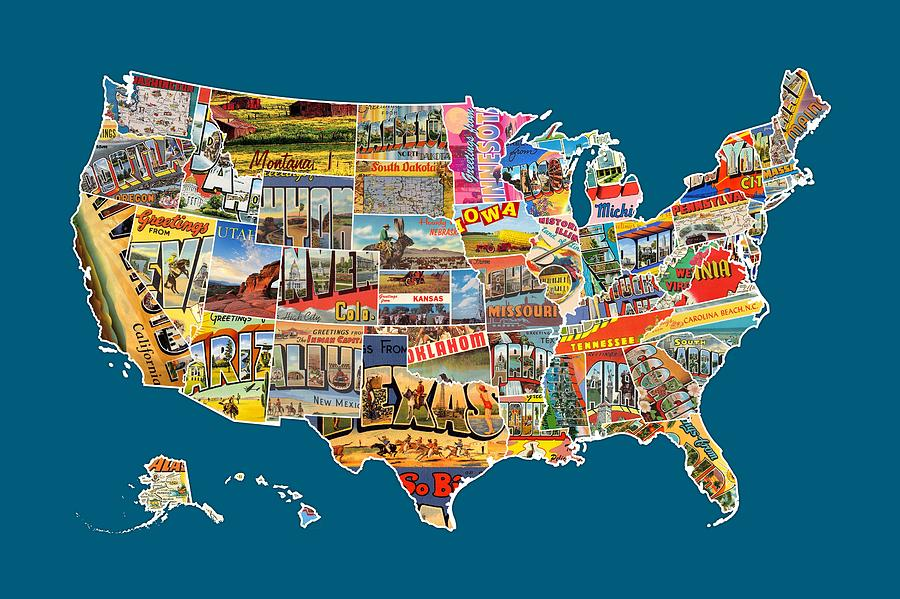 postcards mixed media postcards of the united states vintage usa all 50 states map by