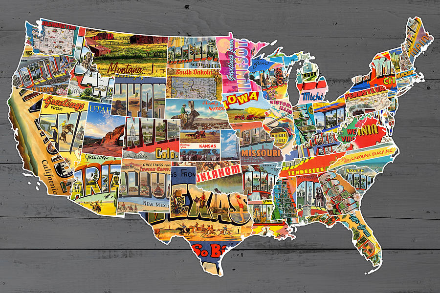 Postcards Of The United States Vintage Usa Lower Map On Gray - Us map photo collage