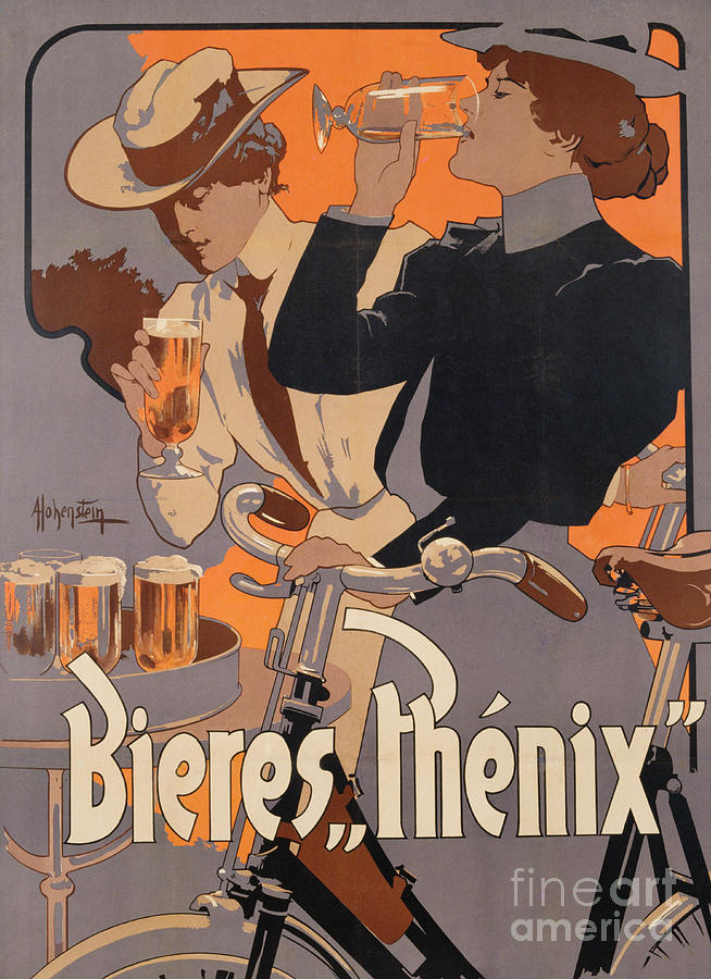 Poster Advertising Phenix Beer Painting By Adolf Hohenstein