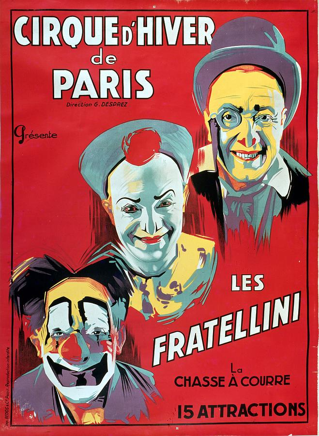 Vintage Painting - Poster Advertising The Fratellini Clowns by French School