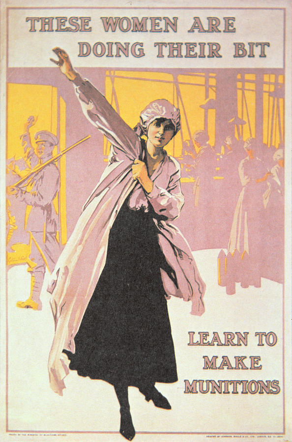Retro Painting - Poster Depicting Women Making Munitions  by English School