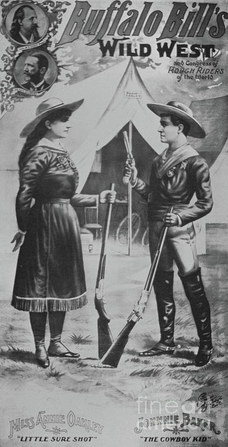 Male Drawing - Poster For Buffalo Bills Wild West Show, Featuring Annie Oakley And Johnnie Baker The Cowboy Kid by American School