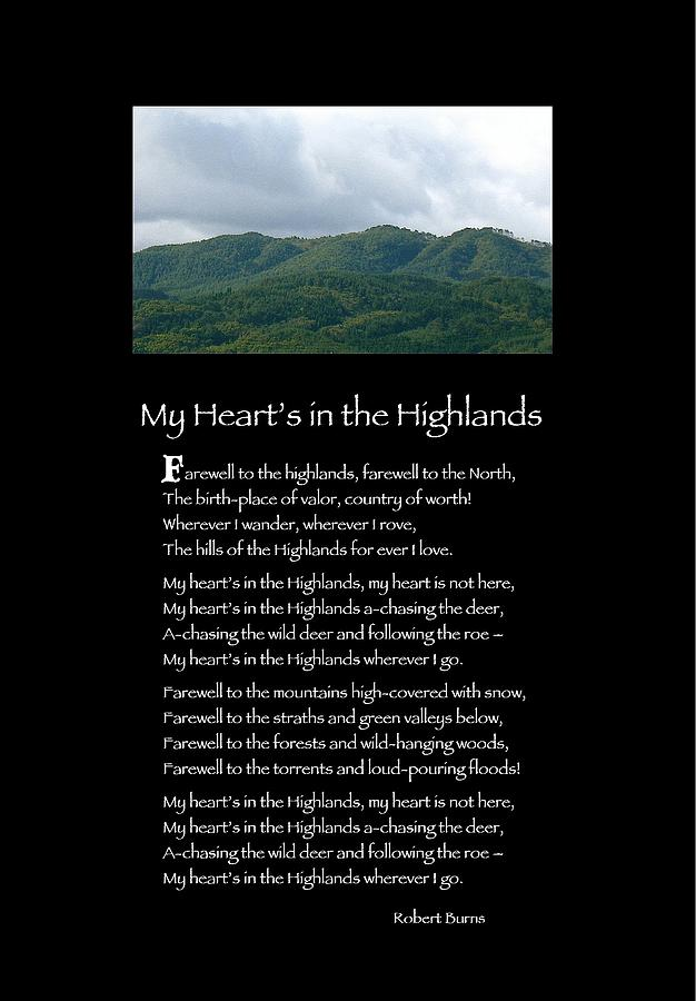 Poster Poem My Heart S In The Highlands Photograph By