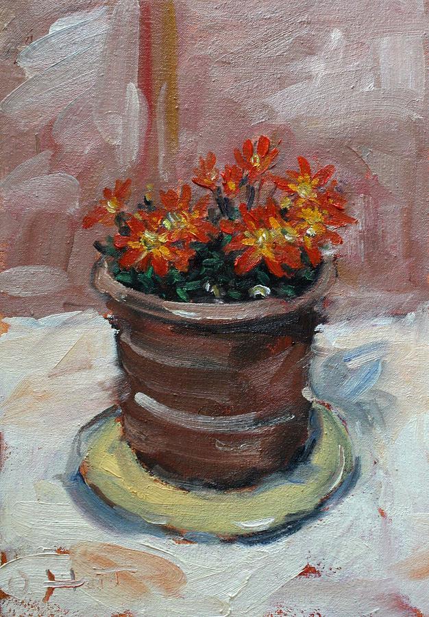 Owen Hunt Painting - Pot Of Bee Dance Flowers by Owen Hunt