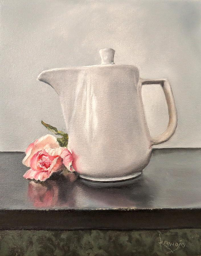 Contemporary Still Life Painting - Pot Of Coffee And A Paper Rose by Wendy Winbeckler - Kanojo