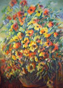 Flowers Painting - Pot Of Flowers by Lozano Mary