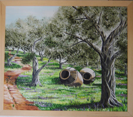 Landscape Painting - Potes And Olive-trees. by Anna Witkowska
