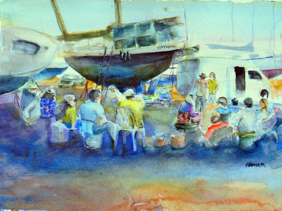 Guaymas Painting - Potluck in the boatyard by Diane Binder