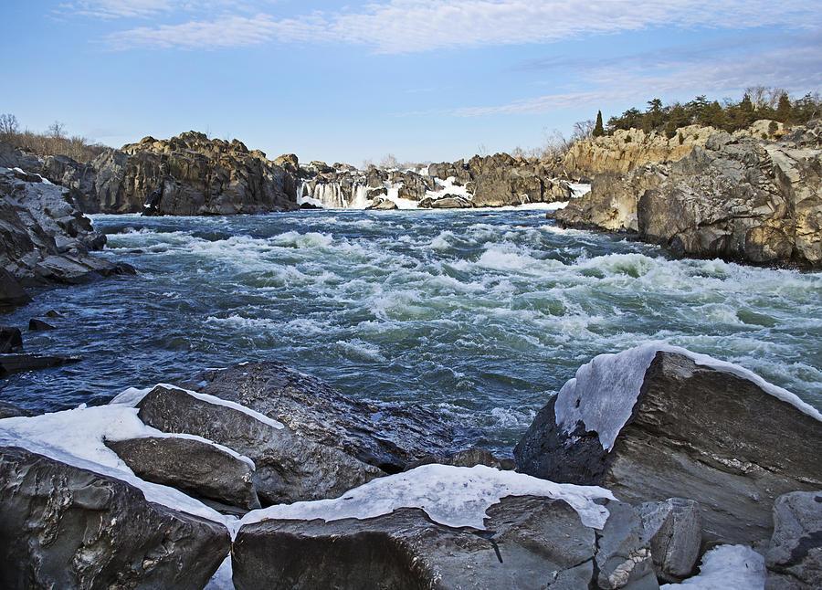 Great Photograph - Potomac River At Great Falls Winter by Brendan Reals