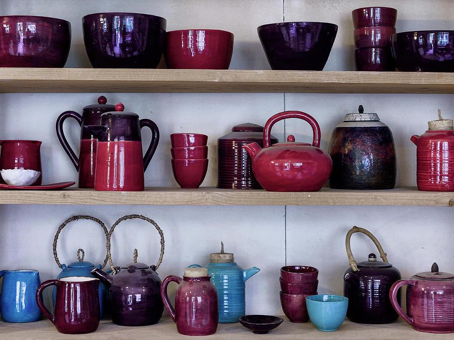 Pots In Racks In A Ceramic Work Shop Photograph
