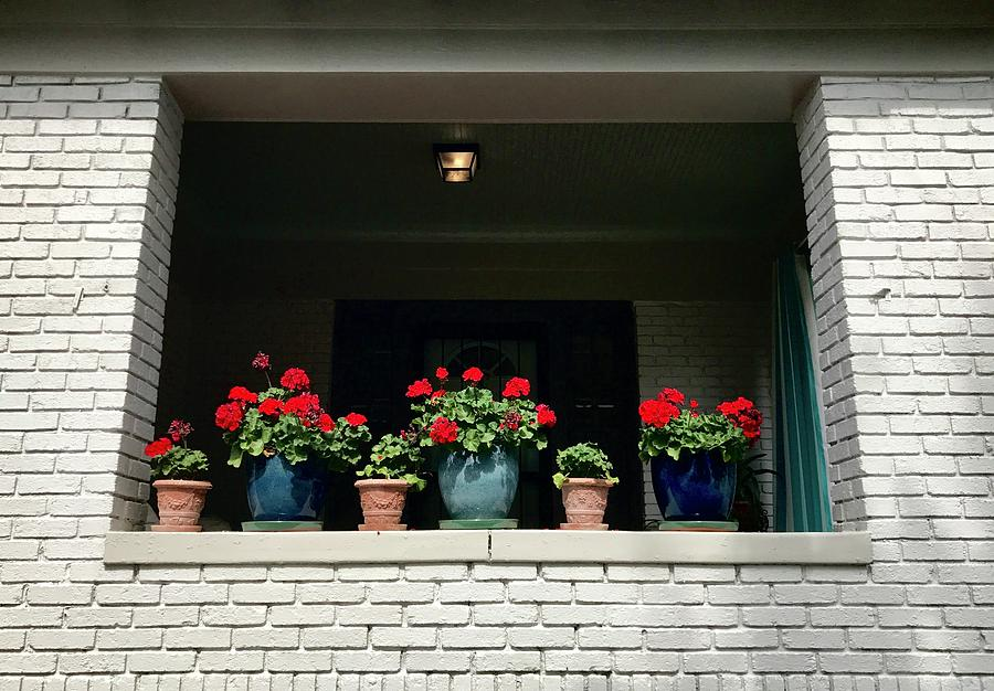 Flowers Photograph - Pots In The Window by Leslie Brashear