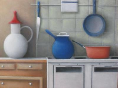 Pots On Stove Painting by Alfredo DeCurtis