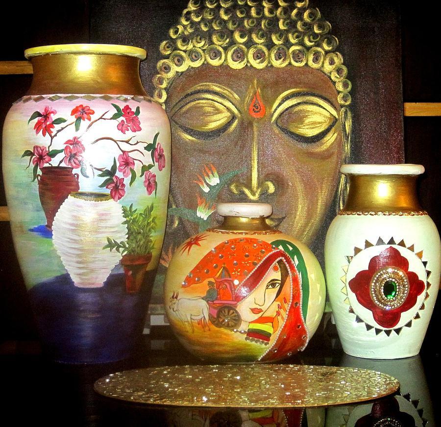 Golden Buddha Ceramic Art - Pots by Xafira Mendonsa