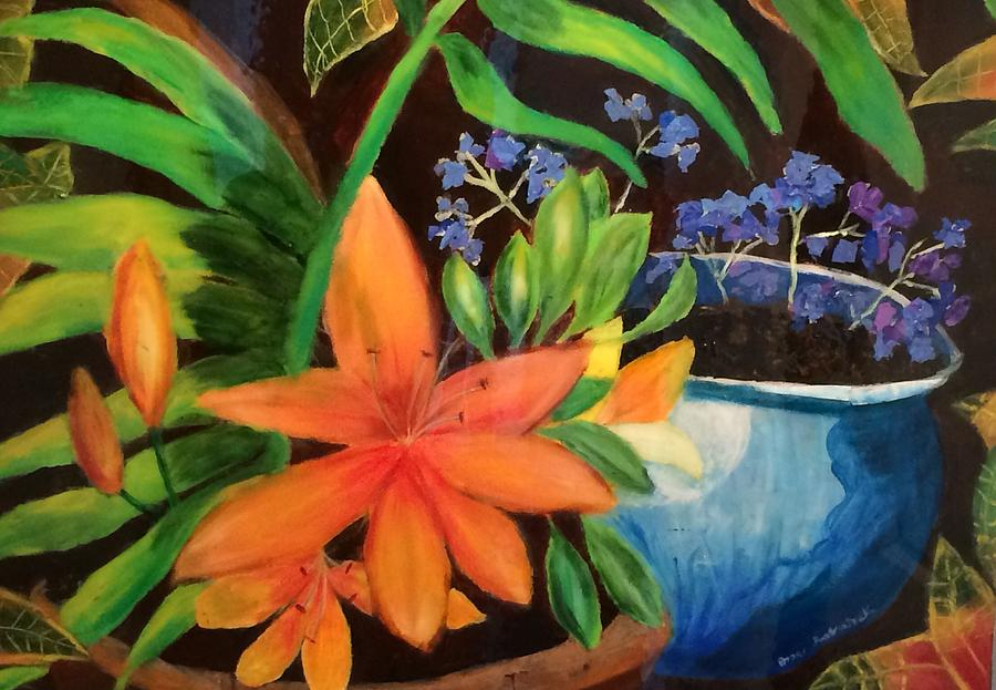 Flowers Painting - Potted flowers by Jason Rosenstock