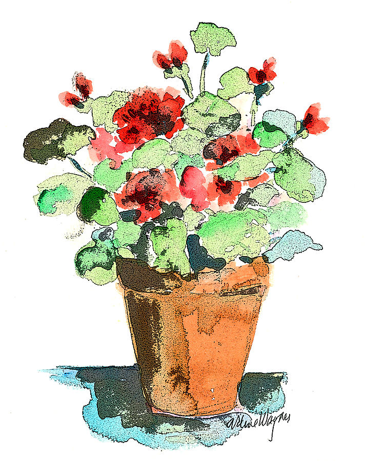 Plants Painting - Potted Geraniums by Arline Wagner