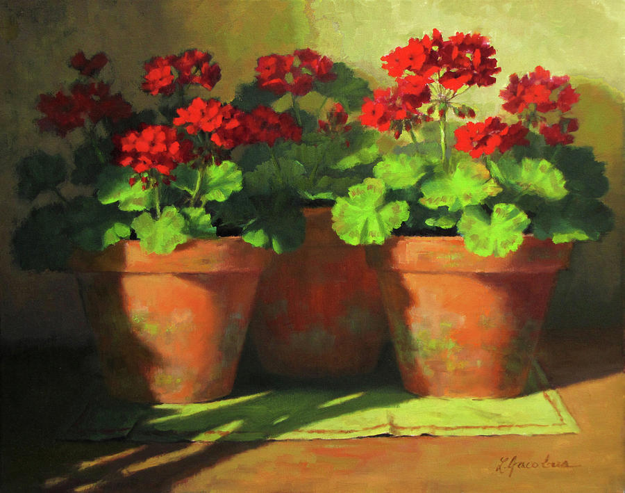 Potted Geraniums Painting By Linda Jacobus