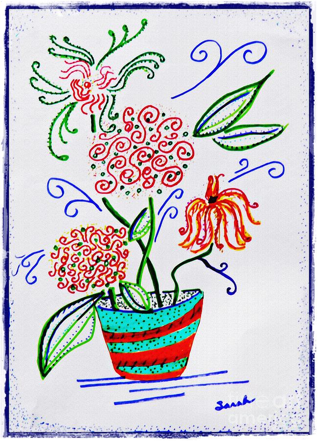 Potted Pinwheels Drawing