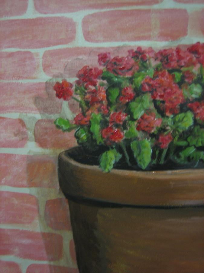 Mural Painting - Potted Plant by Jessica  Dyrli Campbell