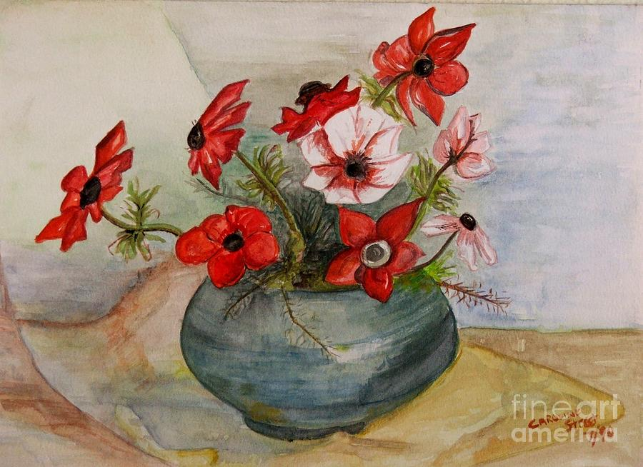 Potted Red And White Flowers Painting By Caroline Street