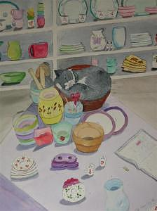Pottery Shop Puddy Tat Painting by Dora Gourley
