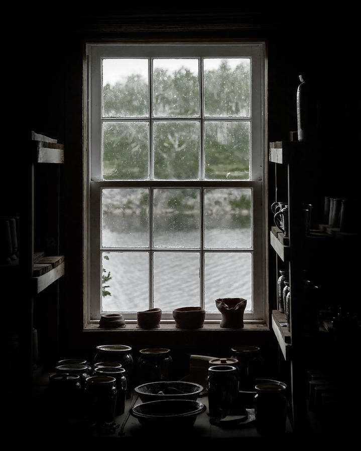Pottery Studio Window on the River in Sherbrooke Village Nova Scotia by Art Whitton