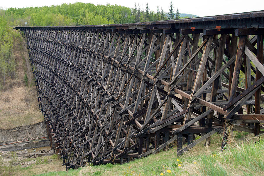1942 Photograph - Pouce Coupe Train Wooden Trestle by Robert Braley