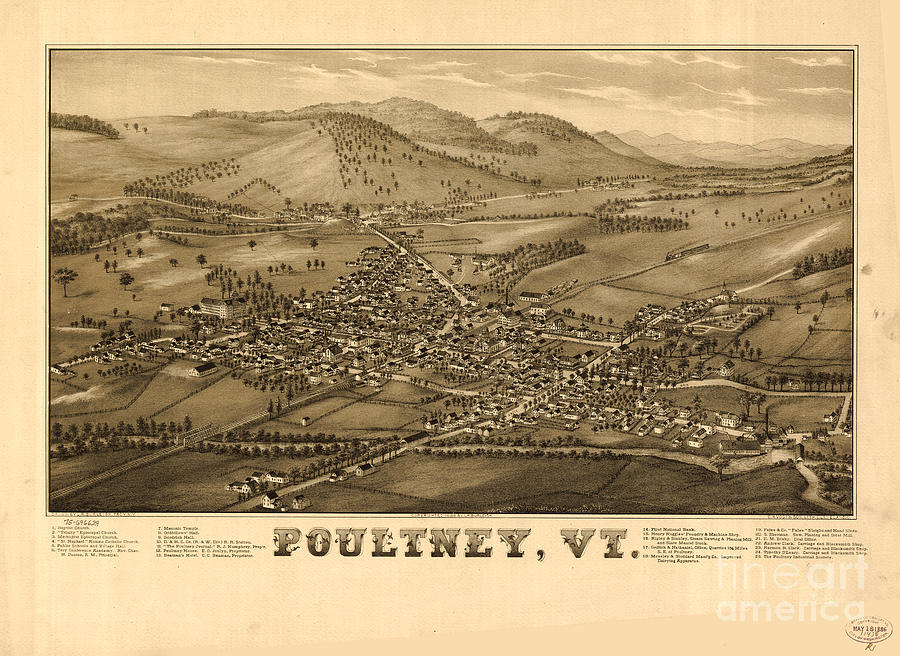 Poultney Painting - Poultney Vermont Map Vintage by Mindy Sommers