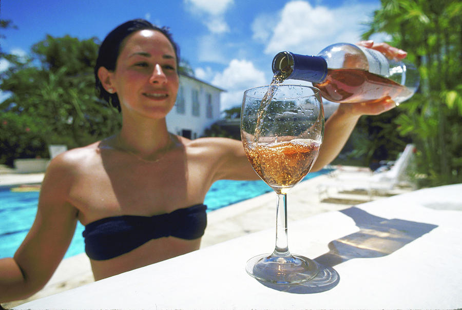 Fine Wine At A Cool Pool Photograph