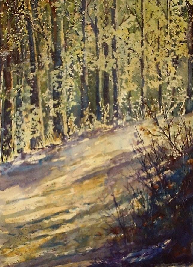 Landscape Painting - Pouring Thru The Trees by Chana Meeks